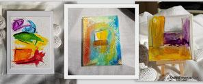kleinkunst herzen collage steine punkte dots