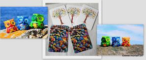Eulen herzen smile kunst postkarten farben foto