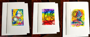 Grusskarten bunt farben mit Couvert mandala