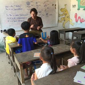 volunteer teaching in classroom