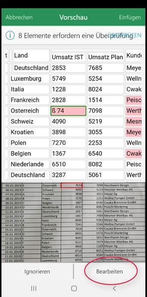 Vorschau korrigieren Excel Daten aus Bild konvertieren