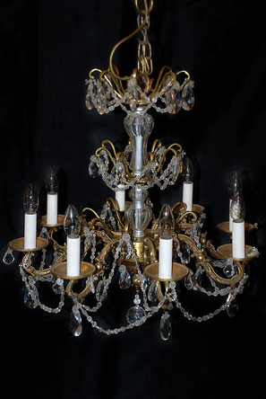 Lustre cristal et bronze d'art