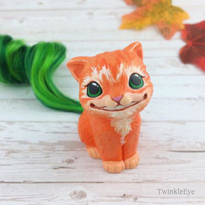 twinkleeye catfigure cheshirecat pumpkin halloween sculpture fimo