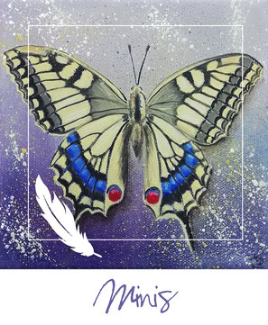 Minis - Öl-Gemälde - Schmetterling - Schwalbenschwanz