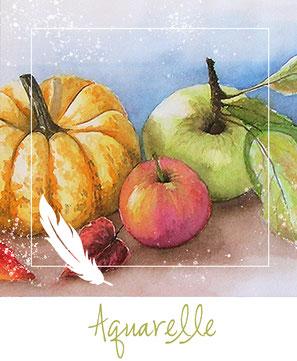 Aquarell - Obst - Kürbis - Apfel - Stilleben