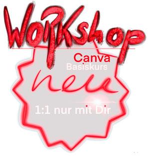 Workshop Anzeige roter Stern Canva Basiskurs