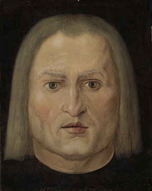 (1) Albrecht Dürer, Testa d'uomo, successivo al 1506, olio/tempera su pergamena e legno; 26 x 21 cm, collezione privata