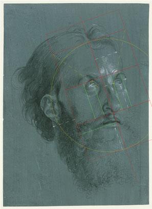 (Bild 28) Albrecht Dürer, Nach rechts gewandter Kopf eines Apostels, 1508, Pinsel in Schwarz mit Deckweiß gehöht auf grün grundiertem Papier, 18,7 x 20,7 cm, Inv.Nr. KdZ 14, Kupferstichkabinett / Staatliche Museen zu Berlin