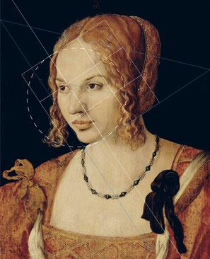 (Bild 35) (unvollständig) Albrecht Dürer, Brustbild einer jungen Venezianerin, 1505, Öl auf Fichtenholz, 32,5 x 24,2 cm, Inv.Nr. 6440, Kunsthistorisches Museum Wien