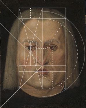 (Bild 2) Verschiedene Konstruktionsschritte sind jeweils nur auf einer Kopfhälfte eingetragen