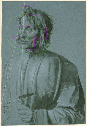 (Bild 31) Albrecht Dürer, Der Baumeister Hieronymus von Augsburg, 1506, Pinsel in schwarz, weiß gehöht, auf blauem Papier, 39,1 x 26,7 cm, Inv.Nr. KdZ 2274, Kupferstichkabinett / Staatliche Museen zu Berlin