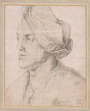 (Bild 34) Albrecht Dürer, Porträt des Bruders Endres, ca. 1518, Kohle auf Papier, Hintergrund weiß gehöht, 32,4 x 26,2 cm, The Morgan Library & Museum / New York