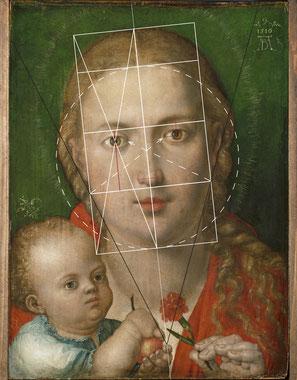 (26) Albrecht Dürer, Madonna del garofano, 1516, olio su pergamena applicata su tavola, 39,7 x 29,3 cm, n. invent. 4772, Alte Pinakothek Monaco di Baviera / Bayerische Staatsgemäldesammlungen