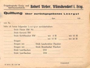 Bild: Teichler Wünschendorf Weber Leergut 1956