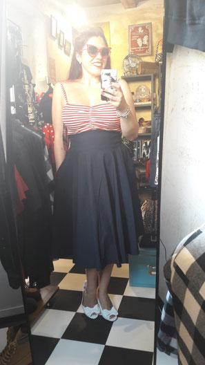 Bettie Page Nautical Dress navy red/white Annakonda Rockabilly & Vintage Store Luzern