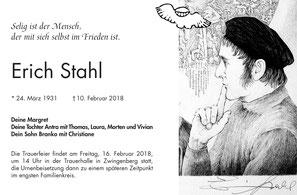 Todesanzeige Erich Stahl Kupferstich Malerei Grafik Linolschnitt Stelen Kunst Literatur Zwingenberg Bergstrasse Hessen