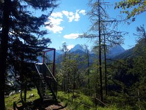 Poppenberg Aussichtsplattform - Blick auf den Großen Priel und Spitzmauer im Toten Gebirge