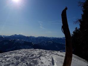 Gscheidriedel Gipfel bei Schnee, Aufstieg über Wurzeralm