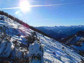 Schneeparadies am Gipfel des Hochsalm im Almtal, Tour in Kombination mit Maisenkögerl und Hutkogel