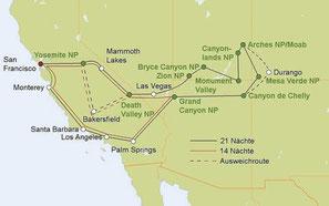 Mietwagenreise von San Francisco durch die Nationalparks im Südwesten der USA