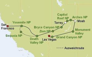 Mietwagenreise von Las Vegas nach San Francisco