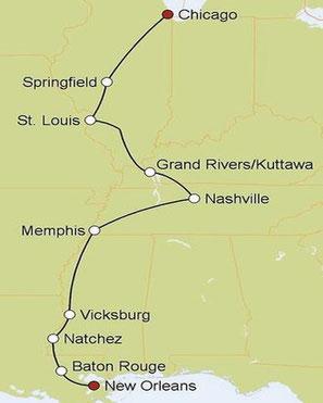 Mietwagenreise von Chicago nach New Orleans
