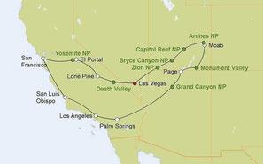 Mietwagenreise von Las Vegas durch die Nationalparks