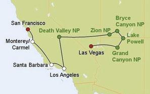 Mietwagenreise von San Francisco nach Las Vegas