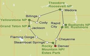 Mietwagenreise von Denver durch die Rockies