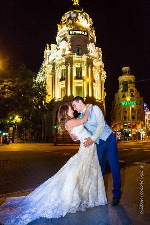 gram via, madrid, postboda, novios, boda, edificio metropolis