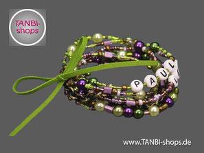 Familienarmband, Geschenkidee, Namensarmband, Armband für Mütter, Wickelarmband, mehrreihiges Armband, Geschenkidee Mutter
