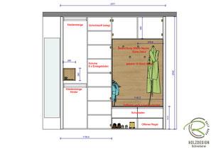 Inneneinteilung CAD Entwurfsplanung Garderobenschrank nach Maß in weiß und Eichendekor mit offener Schlüssel-Nische u. Schuhnische