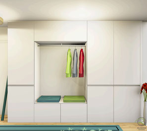 3D-CAD Planung Garderobenschrank weiß mit offener Garderobennische