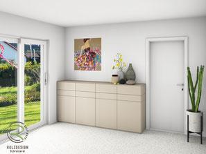 3D-CAD Planung seitliche Ansicht Highboard, Sideboard matt lackicert in NCS-Ton S4005-Y50R, Design-Sidebaord mit Drehtüren u. Nussbaumschubladen für Esszimmer, Kommode mit Innenschubladen in Nussbaum, grifflose Anrichte nach Maß für Esszimmer, Highboard