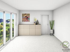 3D-fotorealistische CAD-Planung für Design-Sideboard nach Maß, Sideboard matt lackicert in NCS-Ton S4005-Y50R, Design-Sidebaord mit Drehtüren u. Nussbaumschubladen für Esszimmer, Kommode mit Innenschubladen in Nussbaum, grifflose Anrichte nach Maß