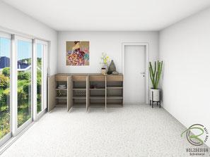 3D-CAD Planung Inneneinteilung Design-Sideboard mit Innenschubladen, Sideboard matt lackiert in NCS-Ton S4005-Y50R, Design-Sideboard mit Drehtüren u. Nussbaumschubladen für Esszimmer, Kommode mit Innenschubladen in Nussbaum, grifflose Anrichte nach Maß