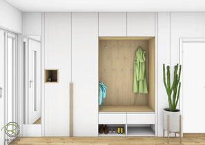 fotorealistische 3-D CAD Entwurfsplanung Garderobenschrank nach Maß in weiß und Eichendekor mit offener Schlüssel-Nische u. Schuhnische