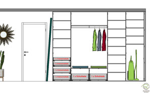 3D-CAD Planung Inneneinteilung für Garderobenschrank weiß mit offener Garderobennische