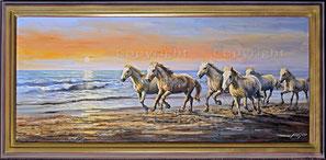 Nr.2001;  Camargue, Galoppierende Pferde am Strand