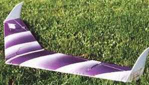 planeur radiocommandé aile volante Passaj Aeromod blanche et violette, posée dans l'herbe