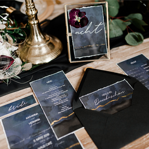 Purple Rain Hochzeitspapeterie Gold Folienprägung