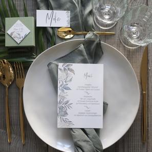 Hochzeitspapeterie Greenery Menükarten Gastgeschenk