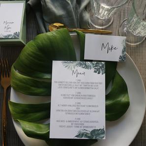Hochzeitspapeterie Greenery Menükarten Gastgeschenk Monstera