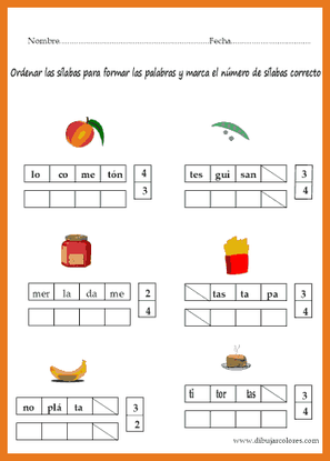 Rellenar los cuadros vacíos con las sílabas bien ordenadas