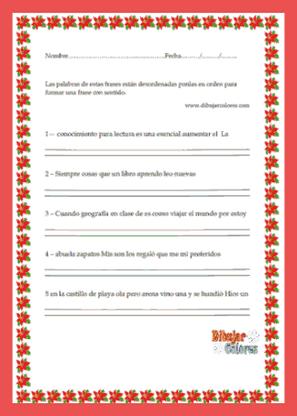 Actividad de frases desordenadas. www.dibujarcolores.com