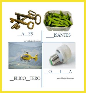 Rellenar los guiones con la o las letras que faltan para completar la palabra que representa el nombre de la imagen.