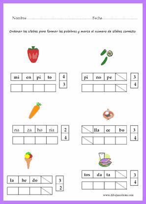 Ordenar las sílabas correctamente para formar la palabra.
