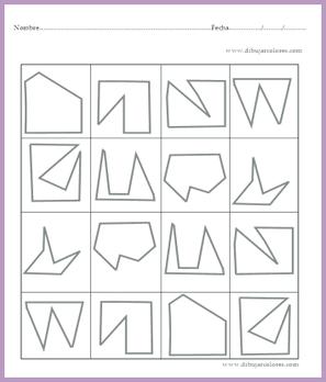 reconocer cada figura aunque no tenga la misma posición en el plano visual y colorearlas ambas del mismo color