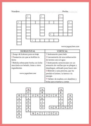 crucigrama con palabras que contienen o empiezan con la consonante B