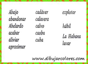 Vocabulario de palabras variadas en tarjetas